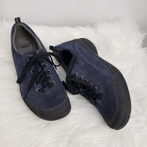 Clark's Blue Suede Like Lace Up Sneakers